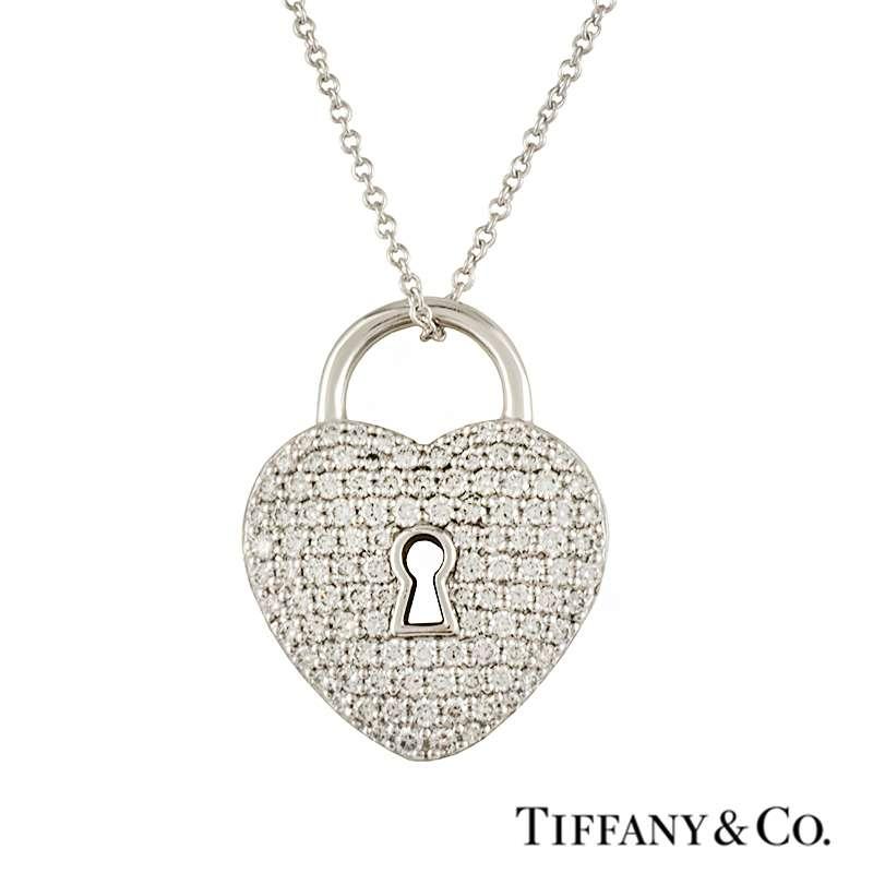Tiffany & Co. Diamond Set Heart Lock Pendant in Platinum 0.76ct